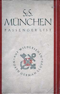 1929-03-14 Passenger Manifest for the S.S. Müchen