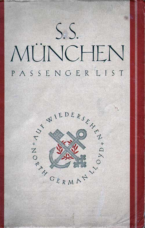 Passenger List, SS Müchen, Norddeutscher Lloyd, March 1929, New York to Bremen