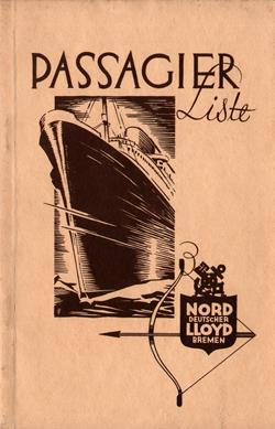 Front Cover - Passenger List, S.S. Sierra Ventana, Norddeutscher Lloyd, August 1931, Bremen to New York