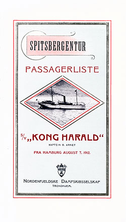 1912-08-07 Passenger Manifest for the SS Kong Harald