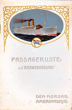 1915-08-18 Passenger Manifest for the S.S. Bergensfjord