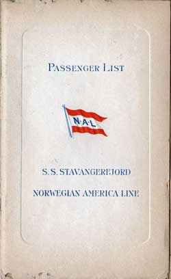 Front Cover - Passenger List, S.S. Stavangerfjord, Norwegian America Line, July 1939, New York to Oslo