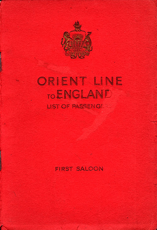 Front Cover - Passenger List, Orient Line, RMS Orion, 7 February 1948