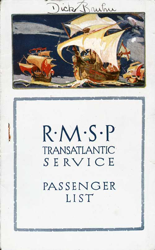 Front Cover - 22 July 1924 Passenger List, S.S. Ohio, Royal Mail Steamer Packet Company (R.M.S.P.)