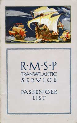 Front Cover - 17 September 1926 Passenger List, S.S. Ohio, Royal Mail Steam Packet Co (R.M.S.P.)