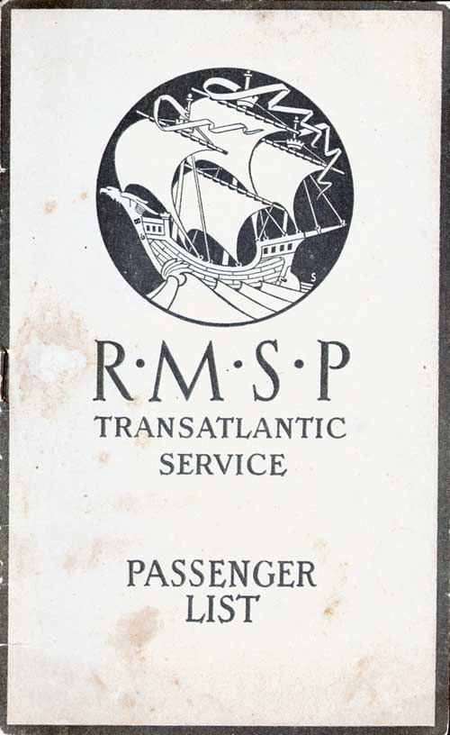 Front Cover - 22 October 1921 Passenger List, S.S. Orbita, Royal Mail Steam Packet Company (R.M.S.P.)