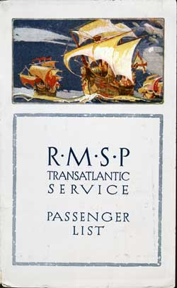 Front Cover - 8 October 1924 Passenger List, S.S. Orbita, Royal Mail Steam Packet Company (R.M.S.P.)