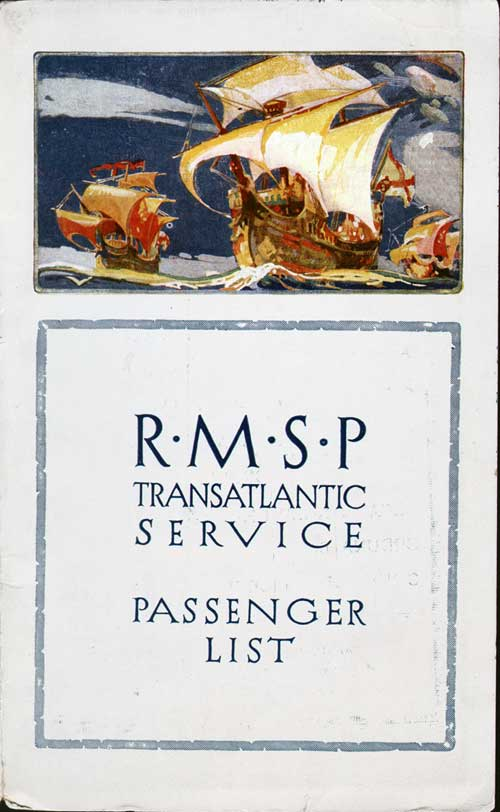 Front Cover - 8 October 1924 Passenger List, SS Orbita, Royal Mail Steam Packet Company (R.M.S.P.)