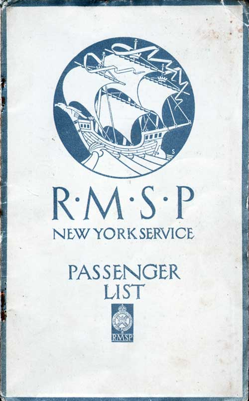 Front Cover - 19 December 1923 Passenger List, SS Orca, Royal Mail Steam Packet Company (R.M.S.P.)