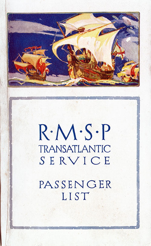 Front Cover, Passenger List, RMSP SS Orca, 19 June 1926