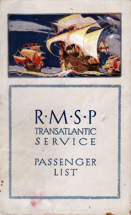 Front Cover - 30 July 1926 Passenger List, S.S. Orca, Royal Mail Steam Packet Company (R.M.S.P.)