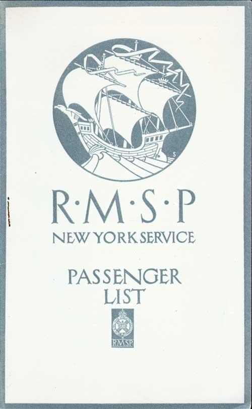 Front Cover - 26 July 1922 Passenger List, S.S. Orduña, Royal Mail Steam Packet Company (R.M.S.P.)