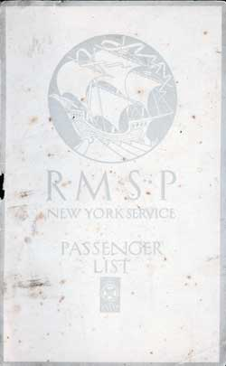 1923-03-27 Passenger Manifest for the S.S. Orduna