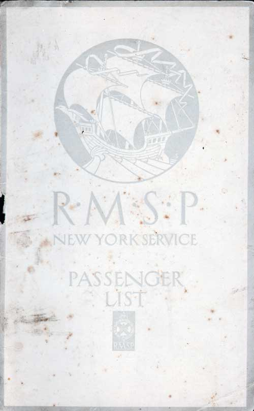 Front Cover - 27 March 1923 Passenger List, S.S. Orduna, Royal Mail Steam Packet Company (R.M.S.P.)