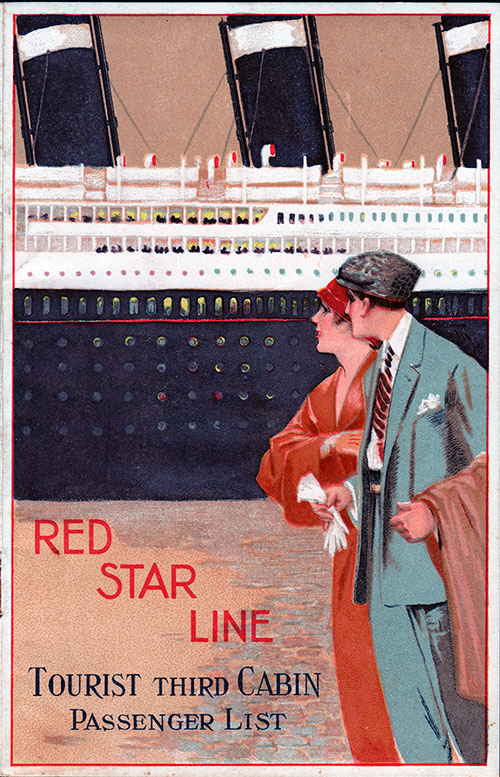 Passenger List, Red Star Line S.S. Arabic, 1929 - Antwerp to Halifax NS and New York