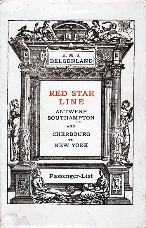 Front Cover -19 July 1924 Passenger List, R.M.S. Belgenland, Red Star Line