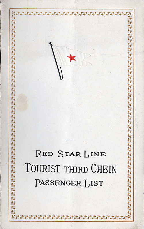 Front Cover, Passenger List, Red Star Line R.M.S. Belgenland, 3 September 1926