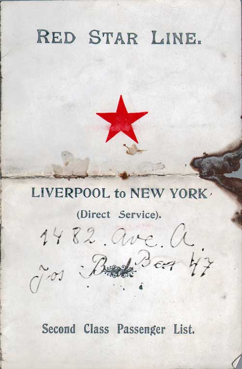 Front Cover - 29 October 1914 Passenger List, R.M.S. Lapland, Red Star Line