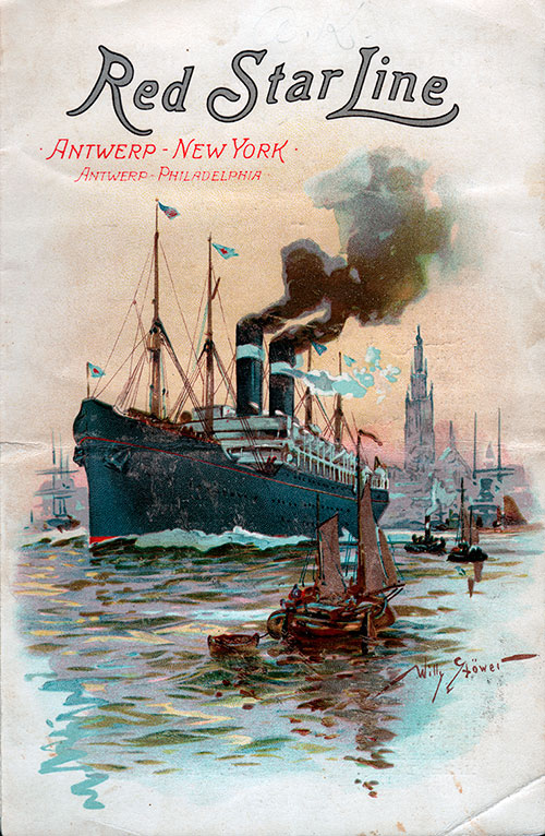 Passenger List, Red Star Line S.S. Vaderland, 1901, Antwerp to New York (Front Cover)