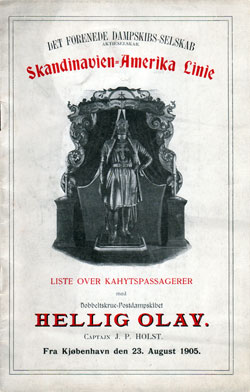 1905-08-23 Passenger Manifest for the S.S. Hellig Olav
