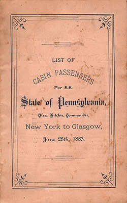 1883-06-28 Ships List for the S.S. State of Pennsylvania