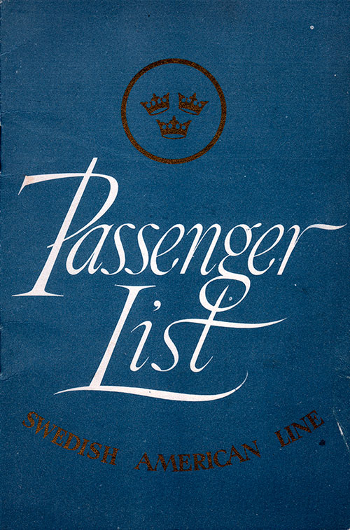Front Cover - Passenger List, Swedish American Line, S.S. Gripsholm, 21 June 1950