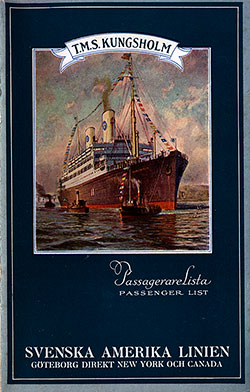 1932-10-01 Ships List for the S.S. Kungsholm