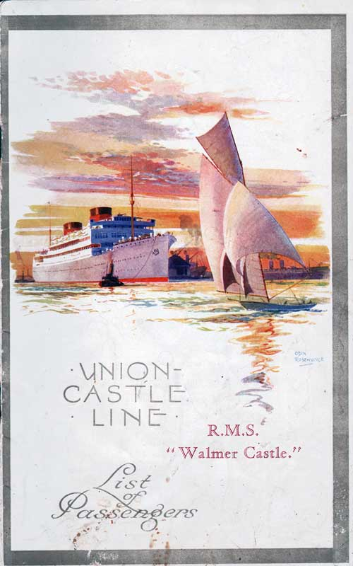 Front Cover - 29 November 1929 Passenger List, R.M.S. Walmer Castle, Union-Castle Line