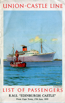1955-06-17 Ships List for the R.M.S. Edinburgh Castle