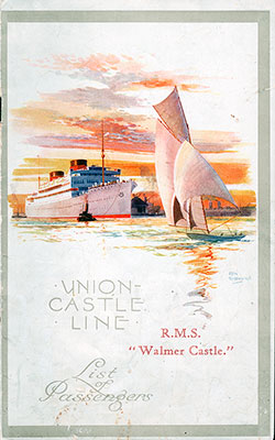 1929-11-29 Passenger Manifest for the R.M.S. Walmer Castle