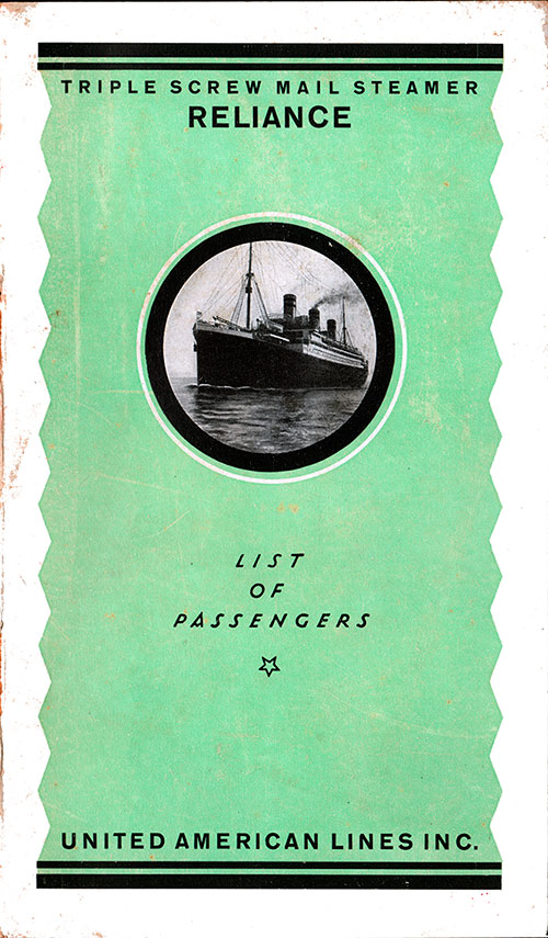 Front Cover - 15 November 1922 Passenger List, SS Reliance, Unated American Lines