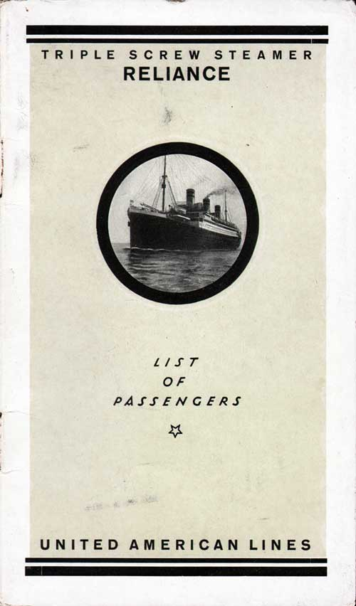 Front Cover - Passenger List, S.S. Reliance, United American Lines, July 10, 1923