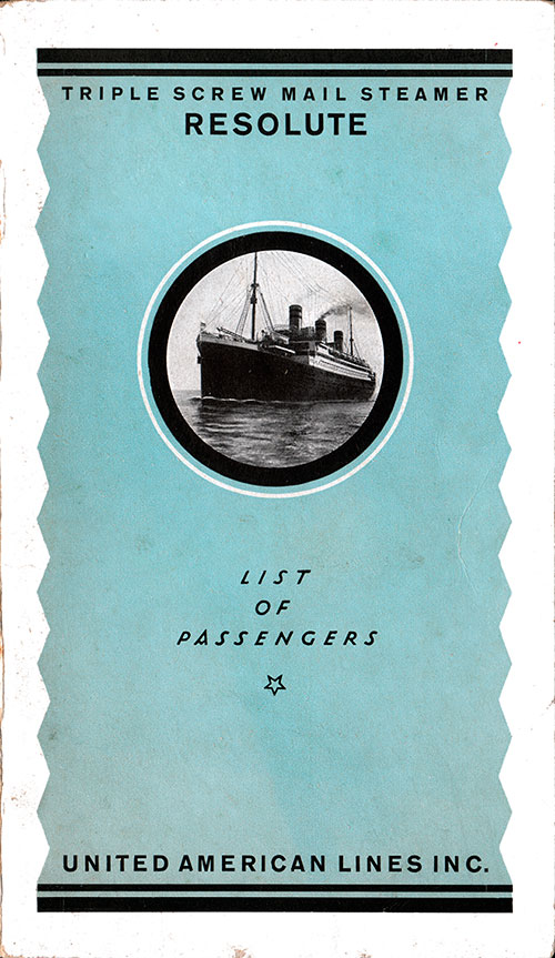 Front Cover - 5 September 1922 Passenger List, S.S. Resolute, United American Lines