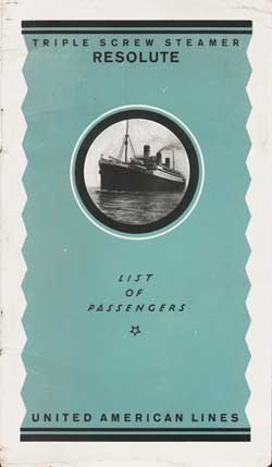 Front Cover - 24 July 1923 Passenger List, S.S. Resolute, United American Lines