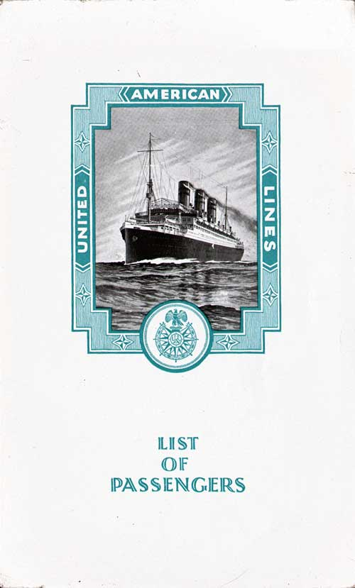 Cabin Passenger List, SS Resolute, United American Lines, 19 May 1925