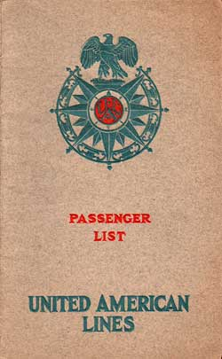 1925-06-30 Passenger Manifest for the S.S. Resolute