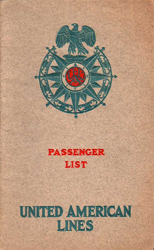 Front Cover - 30 June 1925 Passenger List, S.S. Resolute, United American Lines