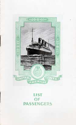 1925-09-08 Passenger Manifest for the S.S. Resolute