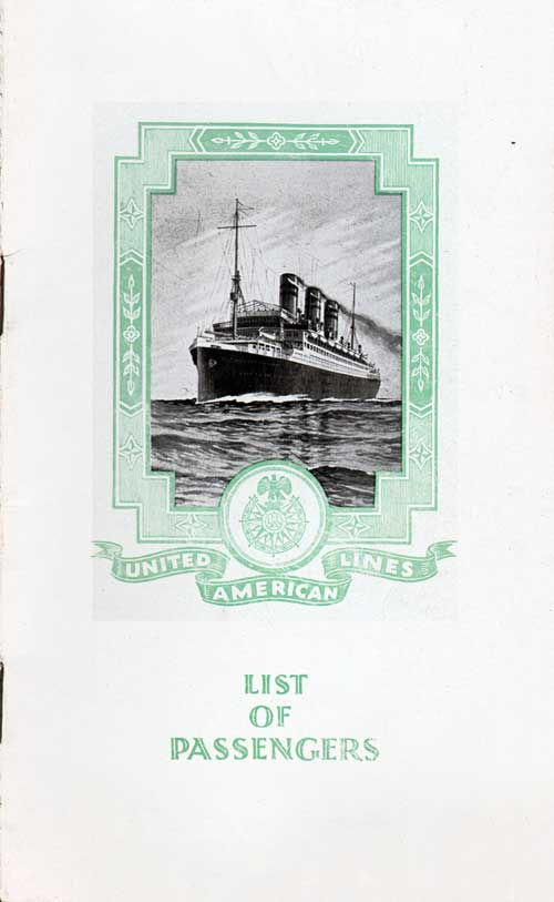 Front Cover - 8 September 1925 Passenger List, S.S. Resolute, United American Lines