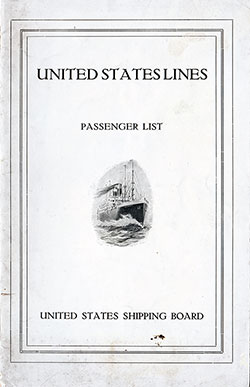 1922-07-12 Passenger Manifest for the S.S. America