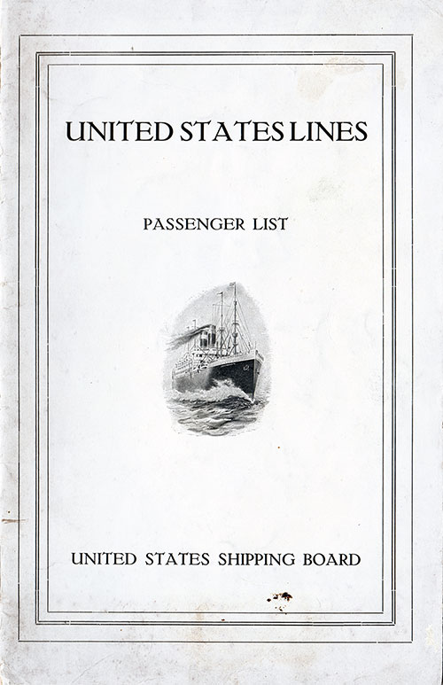 Front Cover, Passenger List, United States Lines S.S. America, 12 July 1922