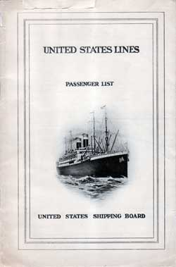 Passenger Manifest, United States Lines, SS America 1924