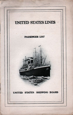 Front Cover, Passenger List, S.S. America, July 1924, United States Lines
