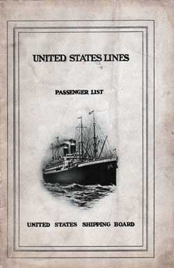 1924-09-29 Passenger Manifest for the S.S. America