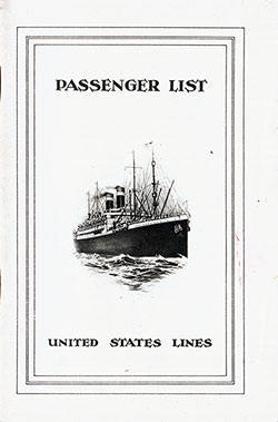 1925-08-05 Passenger Manifest for the S.S. America