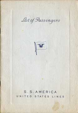Tourist Class Passenger List, S.S. America, United States Lines, 5 September 1947