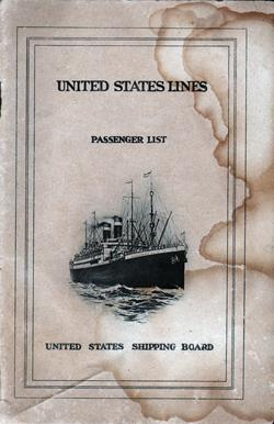 Front Cover, Passenger Manifest, S.S. George Washington, United States Lines, August 1924