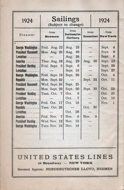 Proposed Sailings for 1924 (August to November)