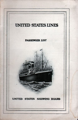 1924-09-19 Ships List for the S.S. George Washington