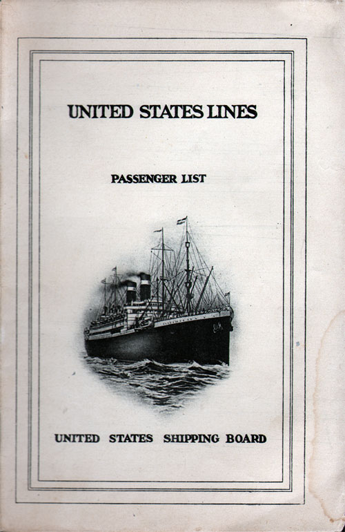 Front Cover, Passenger List, S.S. George Washington, September 1924, United States Lines